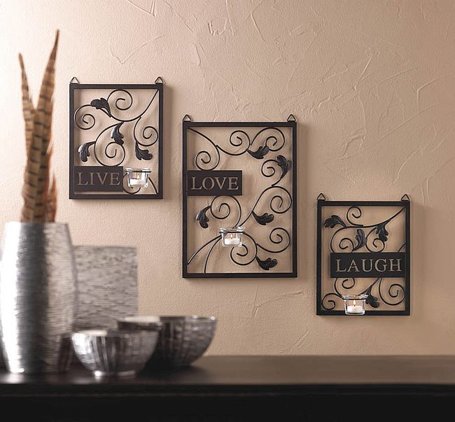 Wall Decor With Candle : Beautiful live love laugh theme wall decor w