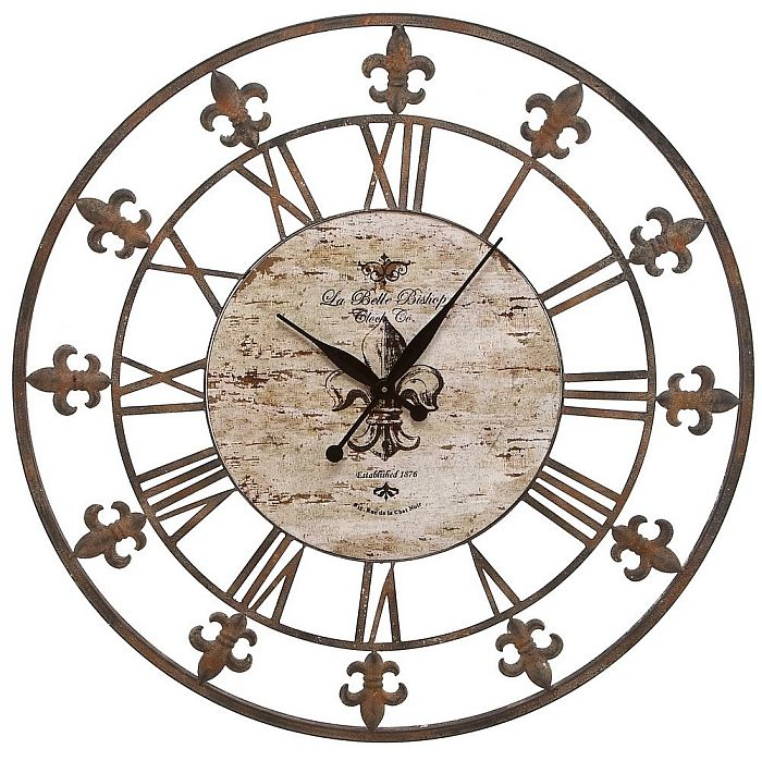 Beautiful Oversized 36 Round Fleur De Lis Theme Wall Clock Metal Art Decor Wo